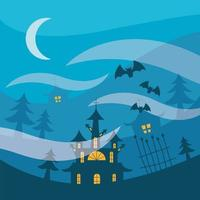 Halloween haunted houses and pine trees at night vector design
