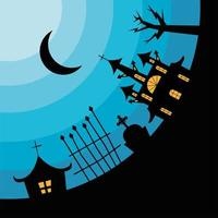 Halloween haunted houses at a cemetery vector design