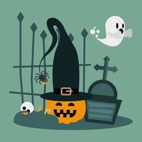 Halloween pumpkin cartoon with hat at cemetery vector design