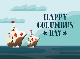 Ships for happy Columbus day celebration vector