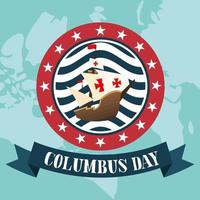 Ship for happy Columbus day celebration vector