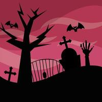 Halloween cemetery and tree at night vector design