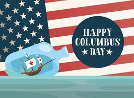 ship inside a water bottle with usa flag of happy columbus day vector design