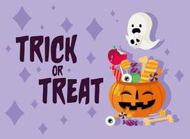 Halloween trick or treat celebration banner vector