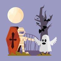 personajes de celebración de halloween vector