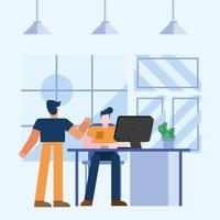 Teamwork concept with men in the office vector