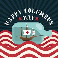 ship inside water bottle with usa flag of happy columbus day vector design