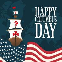 ship in front of an USA flag for happy Columbus day vector