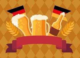 Oktoberfest cerveza botella y vasos diseño vectorial vector