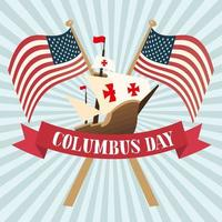 ship with flags of happy columbus day vector design