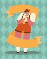 Oktoberfest hombre de dibujos animados con diseño de vector de trompeta