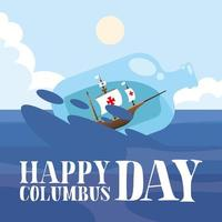 ship inside a water bottle for happy columbus day vector design