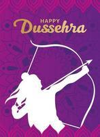 feliz dussehra y lord ram con arco y flecha diseño de vector de silueta blanca