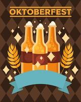 oktoberfest beer bottles with ribbon vector design