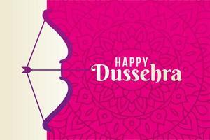 feliz dussehra y arco con flecha en diseño de vector de fondo rosa mandala