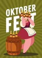 Dibujos animados de mujer oktoberfest con botellas de cerveza y diseño vectorial de barril vector