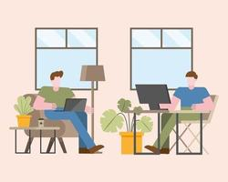 Teamwork concept with men working in the office vector