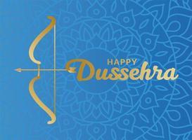 feliz dussehra y arco con flecha en diseño de vector de fondo azul mandala