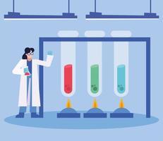 Coronavirus vaccine research design with chemist woman working vector