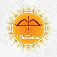feliz dussehra y arco con flecha en diseño de vector de mandala naranja
