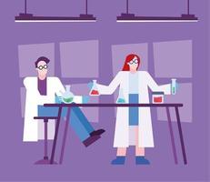 Coronavirus vaccine research design with chemists vector