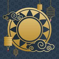 Happy mid autumn festival with flower, clouds and lanterns vector