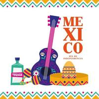 Mexican independence day banner vector