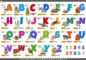 Alphabet with cartoon characters and objects educational set vector