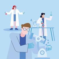 Coronavirus vaccine research design with chemists working vector
