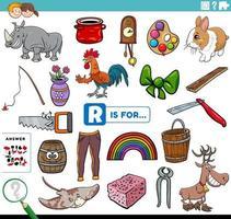 letra r palabras tarea educativa para niños vector
