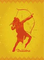 feliz dussehra y lord ram con arco y flecha diseño de vector de silueta naranja