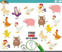 One of a kind game for children with cartoon farm animals vector