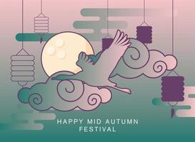 Happy mid autumn festival with moon, clouds and heron vector