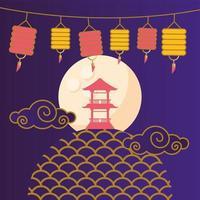 Happy mid autumn festival with lanterns vector