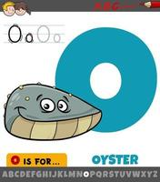 Letter O from alphabet with oyster animal character vector