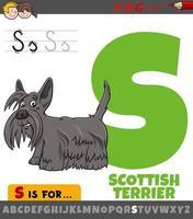 hoja de trabajo de la letra s con terrier escocés de dibujos animados vector