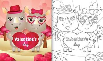 coloring book for kids with Cute valentine's day rhino couple illustrated vector