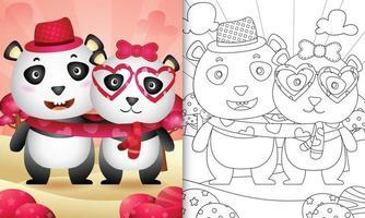 libro para colorear para niños con linda pareja de osos panda de san valentín ilustrada vector