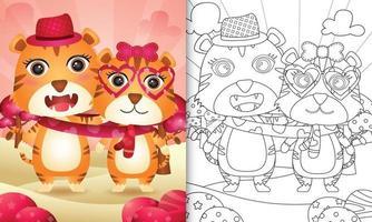 libro para colorear para niños con linda pareja de tigres del día de san valentín ilustrada vector