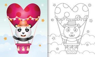 libro para colorear para niños con un lindo panda macho en globo aerostático con tema de amor día de san valentín vector
