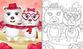 libro para colorear para niños con linda pareja de osos polares del día de san valentín ilustrada vector