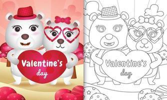 libro para colorear para niños con linda pareja de osos polares del día de san valentín ilustrada