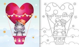 libro para colorear para niños con un lindo hipopótamo macho en globo aerostático con tema de amor día de san valentín vector