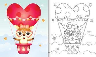 libro para colorear para niños con una linda cierva en globo aerostático con tema de amor día de san valentín vector