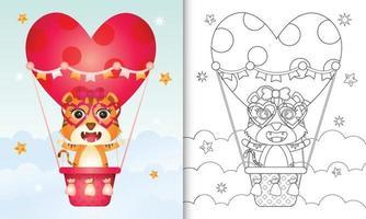 libro para colorear para niños con una linda hembra tigre en globo aerostático con tema de amor día de san valentín vector