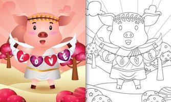 libro para colorear para niños con un lindo ángel cerdo usando un disfraz de cupido sosteniendo una bandera en forma de corazón vector