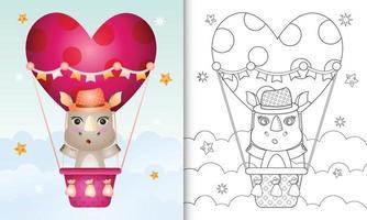 libro para colorear para niños con un lindo rinoceronte macho en globo aerostático con tema de amor día de san valentín vector