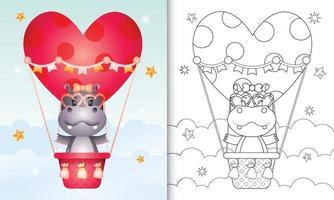 libro para colorear para niños con una linda hembra de hipopótamo en globo aerostático con tema de amor día de san valentín vector