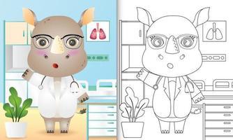 libro para colorear para niños con una linda ilustración de personaje de doctor rinoceronte vector