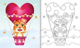 libro para colorear para niños con un lindo tigre macho en globo aerostático con tema de amor día de san valentín vector